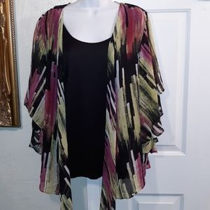 Dress Barn Tribal Beat Top with Attached Tank NWT